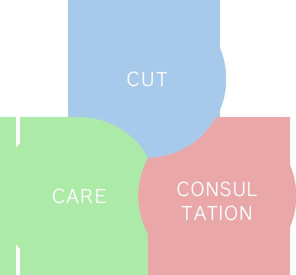 『カット』 ・ 『ケア』 ・ 『コンサルテーション』。カラーは3つの 『 C 』 を大切にしています。